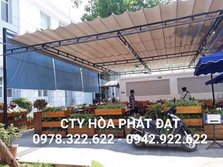 Mái che di động quán cafe, thiết kế lắp đặt mái bạt xếp bạt kéo quán cafe giá rẻ
